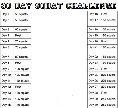 Facebook 30 Day Squat Challenge Day Squat Challenge Boo